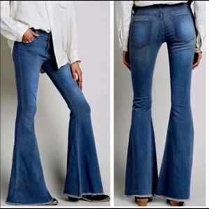 NWT AC FOR AG. Raw hem bell bottom flare jeans.